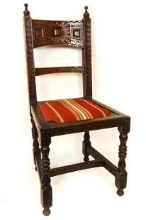 Antique Jacobean Style Upholstered Side Chair