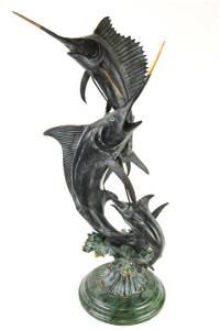 Spi Gallery Grand Slam Marlin Cast Brass Sculpture