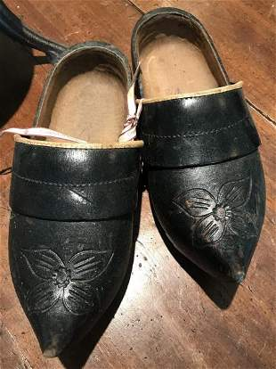 Pair of Antique Wooden Dutch Style Carved Shoes