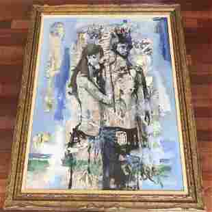Large Mid Century Modern Oil Painting of a Couple