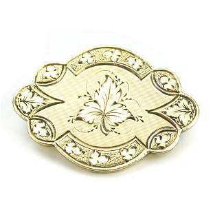 Antique 19th C 10kt Yellow Gold Pendant or Brooch
