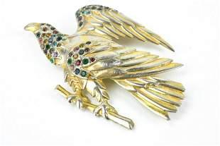 Retro Rhodium Plated Costume Jewelry Eagle Brooch
