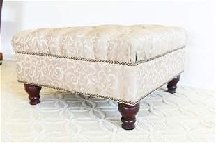 Tufted Silk Upholstered Ottoman w Nailhead Trim