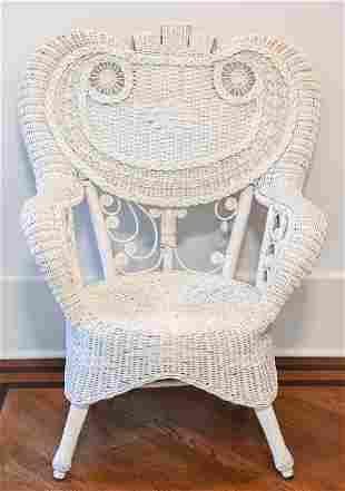 Victorian Style White Wicker Armchair