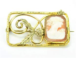 Estate Antique Ornate Framed Shell Cameo Brooch