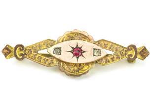 Antique 19th C Gold Topped & Garnet Brooch
