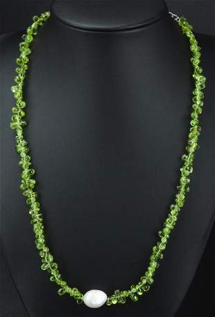 Sterling Peridot & Baroque Pearl Necklace Strand