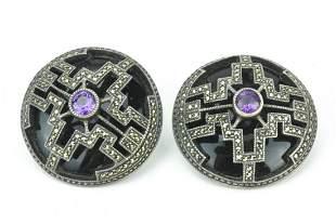 Pair Large Art Deco Sterling & Marcasite Earrings
