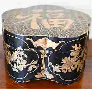 Chinese Black Lacquer & Gilt Hat Box w Character