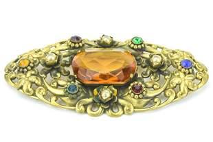 Huge Czech Style Crystal Art Deco Ormolu Brooch
