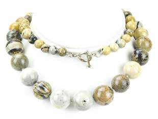 Sterling Silver & Jasper / Agate Bead Necklace