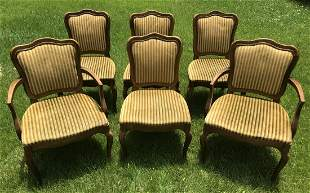 Six Striped Velvet French Country Dining Chairs