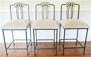 Set 3 Wrought Iron Bar Stools