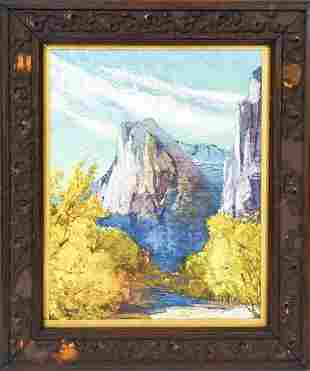 Mountain Landscape Print Antique Victorian Frame