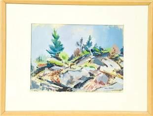 Aaron Berkman Pastel Drawing of Mountain Landscape