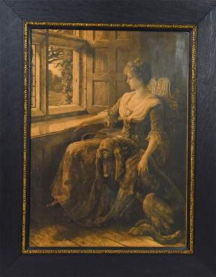 Antique Victorian Genre Engraving Seated Lady