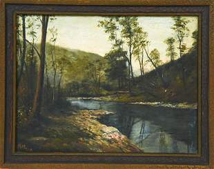 Signed American School River Oil Painting