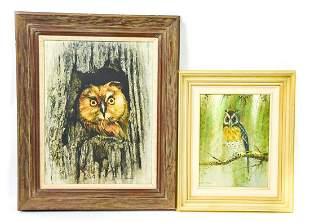 Two Framed Mid Century Owl Oil Paintings