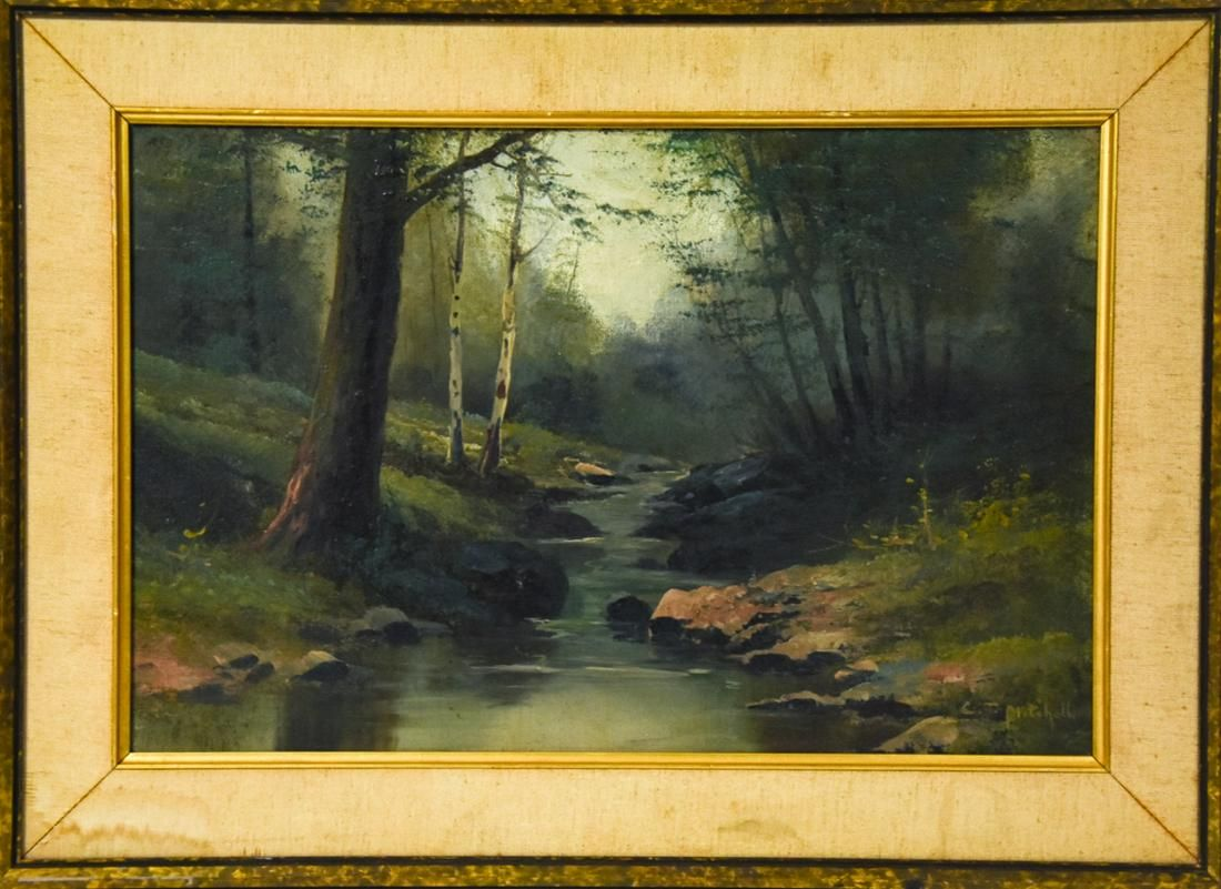 C. T. Mitchell American School River Oil Painting