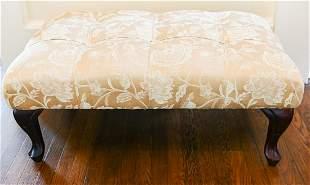 Custom Silk Upholstered Tufted Ottoman