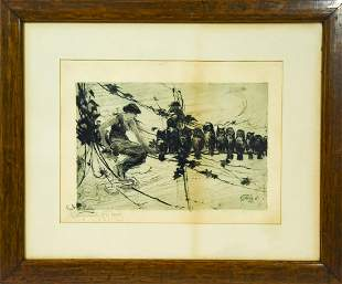 Framed F.S. Church 'Sylph With Owls' Etching