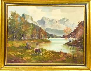 Karl Gatermann Figural Mountain Landscape Painting