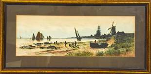 Framed Hand Colored Figural Shore Etching