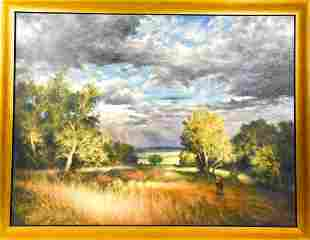 Framed Romantic Style Figural Landscape Painting