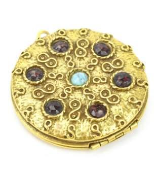 Vintage Costume Jewelry Garnet Crystal Locket