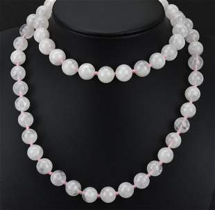 Hand Knotted 8mm Rose Quartz Bead Necklace