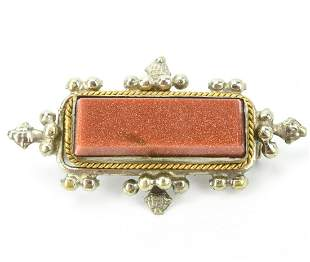 Antique Victorian Style Silver & Goldstone Brooch