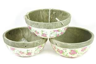 Three Ceramic Rose Print Hanging Flower Baskets