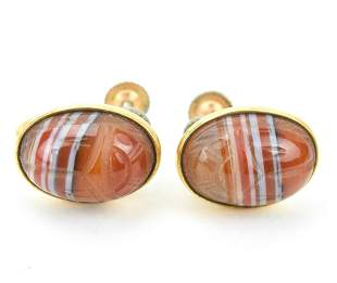 Pair of Banded Agate Egyptian Scarab Earrings
