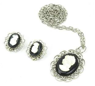 Vintage Costume Jewelry Cameo Necklace & Earrings