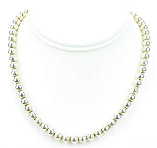 Estate Italian Sterling Silver Beaded Necklace