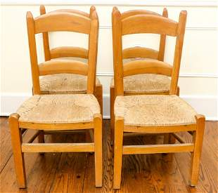 Set 4 Country Style Rush Seat Children's Chairs