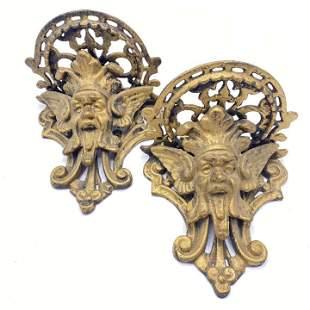 Cast Iron Winged Gargoyle Pedestal Wall Hangings