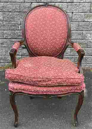 Antique French Walnut Louis XV Bergère Arm Chair