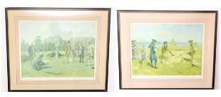 Two Allan Stewart Antique Golf Lithograph Prints