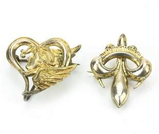 Antique Fleur de Lis & Cherub in Heart Brooch Pins