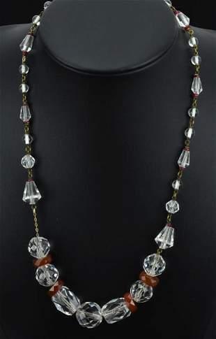 Antique Art Deco Rock Crystal & Carnelian Necklace