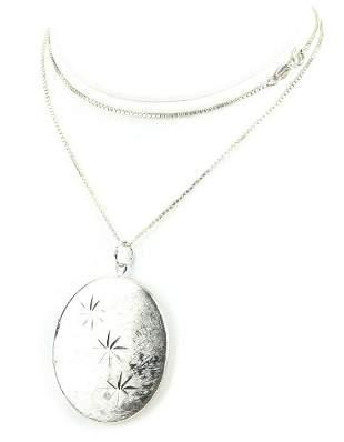 Italian Sterling Silver Necklace Chain w Locket