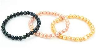 Three Multi Color Baroque Pearl Beaded Bracelets