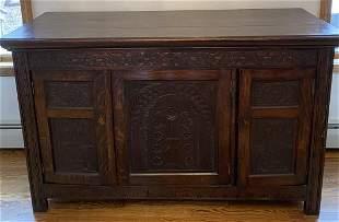 Carved Quarter Sawn Oak Baroque Style Sideboard