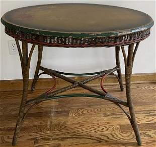 Hand Painted Oval Wicker Side Table