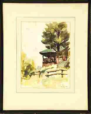 Framed Mid Century Korkegi Foliage Watercolor