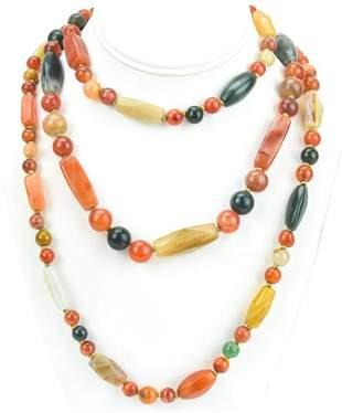 Estate Necklace w Carnelian & Agate Beads