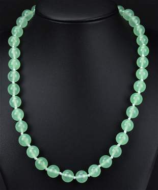 Hand Knotted Necklace w Light Green Jade Beads