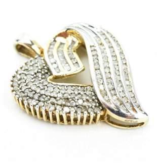 Estate Heart Pendant w 1 Carat of Diamonds