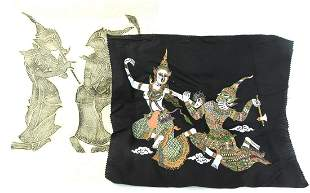 Thai Temple Rubbing & Painting on Cloth